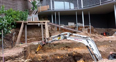 Underhouse swimming pool excavation