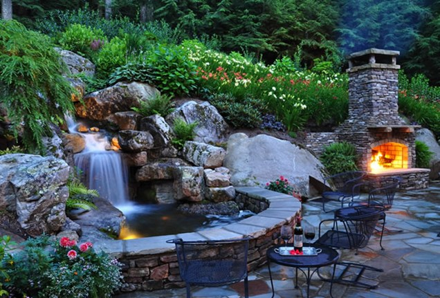 Backyard waterfall excavation